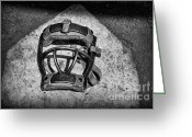 Sports Art Greeting Cards - Baseball Catchers Mask Vintage in black and white Greeting Card by Paul Ward