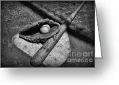 Sports Art Greeting Cards - Baseball Home Plate in black and white Greeting Card by Paul Ward