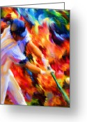 Home Run Greeting Cards - Baseball III Greeting Card by Lourry Legarde