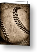 Home Run Greeting Cards - Baseball old and worn Greeting Card by Paul Ward