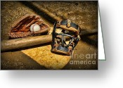 Glove Greeting Cards - Baseball Play Ball Greeting Card by Paul Ward