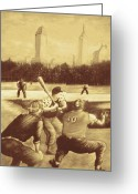 Ny Yankees Baseball Art Greeting Cards - Baseball Players - New York Sepia Greeting Card by Peter Art Prints Posters Gallery
