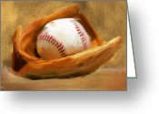 Home Run Greeting Cards - Baseball V Greeting Card by Lourry Legarde