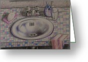Water Drawings Greeting Cards - Bathroom Sink   1991 Greeting Card by Larry Preston