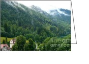 Carol Groenen Greeting Cards - Bavarian Mountain Slope with Mist Greeting Card by Carol Groenen