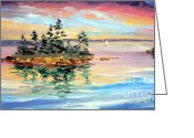 Bay Islands Painting Greeting Cards - Bay Island Sunset Greeting Card by Laura Tasheiko