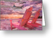Trick Greeting Cards - Beach Flight II  Greeting Card by East Coast Barrier Islands Betsy A Cutler