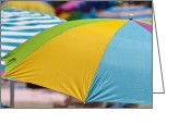 The Buffet Greeting Cards - Beach Umbrella Rainbow 1 Greeting Card by Scott Campbell