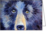 Kodiak Painting Greeting Cards - Bear Face Greeting Card by Nancy Merkle