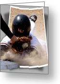 Baseball Photographs Greeting Cards - Beating the Tag Greeting Card by Jim Finch