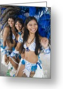 Dancers Greeting Cards - Beautiful Brazilian women in Carnivale costumes Greeting Card by David Smith