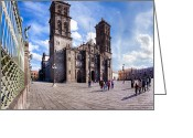 Puebla Greeting Cards - Beautiful Cathedral of Puebla Mexico Greeting Card by Mark E Tisdale