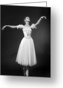 Princess Grace Greeting Cards - Beautiful dancer posing on studio background Greeting Card by Ilya Lokalin