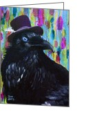 Purples Mixed Media Greeting Cards - Beautiful Dreamer Black Raven Crow 8x10 mixed media by Jaime Haney Greeting Card by Jaime Haney