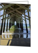 Surf Fishing Photo Greeting Cards - Beneath Sunset Beach Pier Greeting Card by David Roe