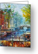Leonid Afremov Greeting Cards - Bicycle in Amsterdam Greeting Card by Leonid Afremov