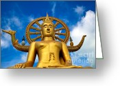 Golden Digital Art Greeting Cards - Big Buddha Greeting Card by Adrian Evans