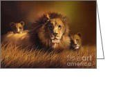 African Cats Greeting Cards - Big Daddy Greeting Card by Robert Foster