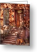 Apartment Greeting Cards - Bike - NY - Greenwich Village - An orange bike  Greeting Card by Mike Savad