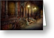 Pillar Greeting Cards - Bike - NY - Greenwich Village - In the village  Greeting Card by Mike Savad