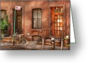 Pillar Greeting Cards - Bike - NY - Urban - Two complete bikes Greeting Card by Mike Savad