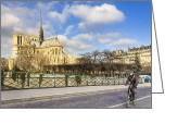 Bike Rider Greeting Cards - Bike Road Over the Seine Greeting Card by Mark E Tisdale