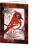 Cardinal Reliefs Greeting Cards - Bird Linocut 2 Greeting Card by Penny OHalloran