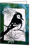 Blues Reliefs Greeting Cards - Bird Linocut 3 Greeting Card by Penny OHalloran