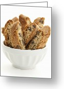 Cookie Photo Greeting Cards - Biscotti cookies in bowl Greeting Card by Elena Elisseeva