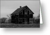 Abandoned Houses Greeting Cards - Black And White Forlorned Greeting Card by Jeff  Swan