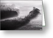 Simon Bratt Photography Greeting Cards - Black and white mist landscape Greeting Card by Simon Bratt Photography