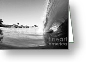Paul Topp Greeting Cards - Black and White Santa Cruz Wave Greeting Card by Paul Topp