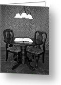 Robert Harmon Greeting Cards - Black and White Sitting Table Greeting Card by Robert Harmon