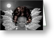 Angel Posters Greeting Cards - Black beauty 2 Greeting Card by Karen Showell