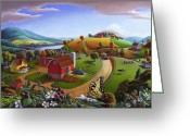 Amish Farms Greeting Cards - Blackberry Patch Rural Country Farm Landscape 5x7 greeting card Greeting Card by Walt Curlee
