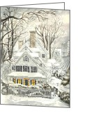 Storm Prints Drawings Greeting Cards - Blizzard of January Greeting Card by Carol Wisniewski
