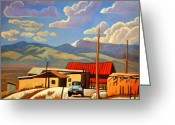 Red Roof Greeting Cards - Blue Apache Greeting Card by Art West
