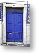 Old World Photography Greeting Cards - Blue Door of Estremoz  Greeting Card by David Letts