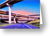 Open Road Painting Greeting Cards - Blue Highway 3 Greeting Card by Dominic Piperata