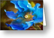 Blue Flowers Digital Art Greeting Cards - Blue Himalayan Poppy Greeting Card by Julie Palencia