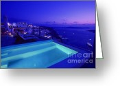 Cruise Ships Greeting Cards - Blue hour Greeting Card by Aiolos Greece Collection