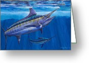 Dolphin Greeting Cards - Blue Marlin Bite Greeting Card by Carey Chen