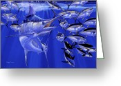 Black Bart Greeting Cards - Blue marlin round up Greeting Card by Carey Chen