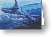 Black Bart Greeting Cards - Blue Marlin strike Greeting Card by Carey Chen