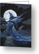 Black Bart Greeting Cards - Blue Moon Greeting Card by Carey Chen