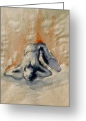 Aquarel Greeting Cards - Blue Nude - Aquarel Watercolor Greeting Card by Peter Art Prints Posters Gallery
