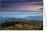 Tree Greeting Cards - Blue Ridge Mountains at Dusk Greeting Card by Andrew Soundarajan