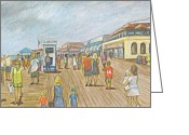 Vacationers Greeting Cards - Boardwalk New Jersey Greeting Card by Carol Wisniewski