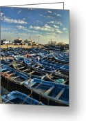 African Heritage Photo Greeting Cards - Boats in Essaouira Morocco harbor Greeting Card by David Smith