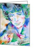 Singer Songwriter Greeting Cards - Bob Dylan Watercolor Portrait.2 Greeting Card by Fabrizio Cassetta